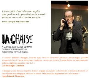 Le courant passe à la Salle Jean-Claude Germain du Théâtre d'Aujourd'hui...