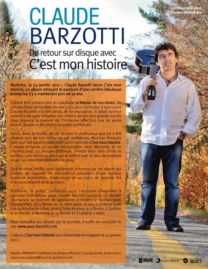 Claude Barzotti - De retour sur disque avec C'EST MON HISTOIRE