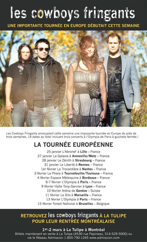 Les Cowboys Fringants: une importante tournée en Europe débutait cette semaine!