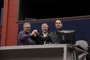 Marc Couillard, président des Arts de la scène, Norbert Morin, député de Montmagny-L'Islet, Christian Noël, directeur général des Arts de la scène