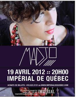 Spectacle de Madjo à l'Impérial de Québec