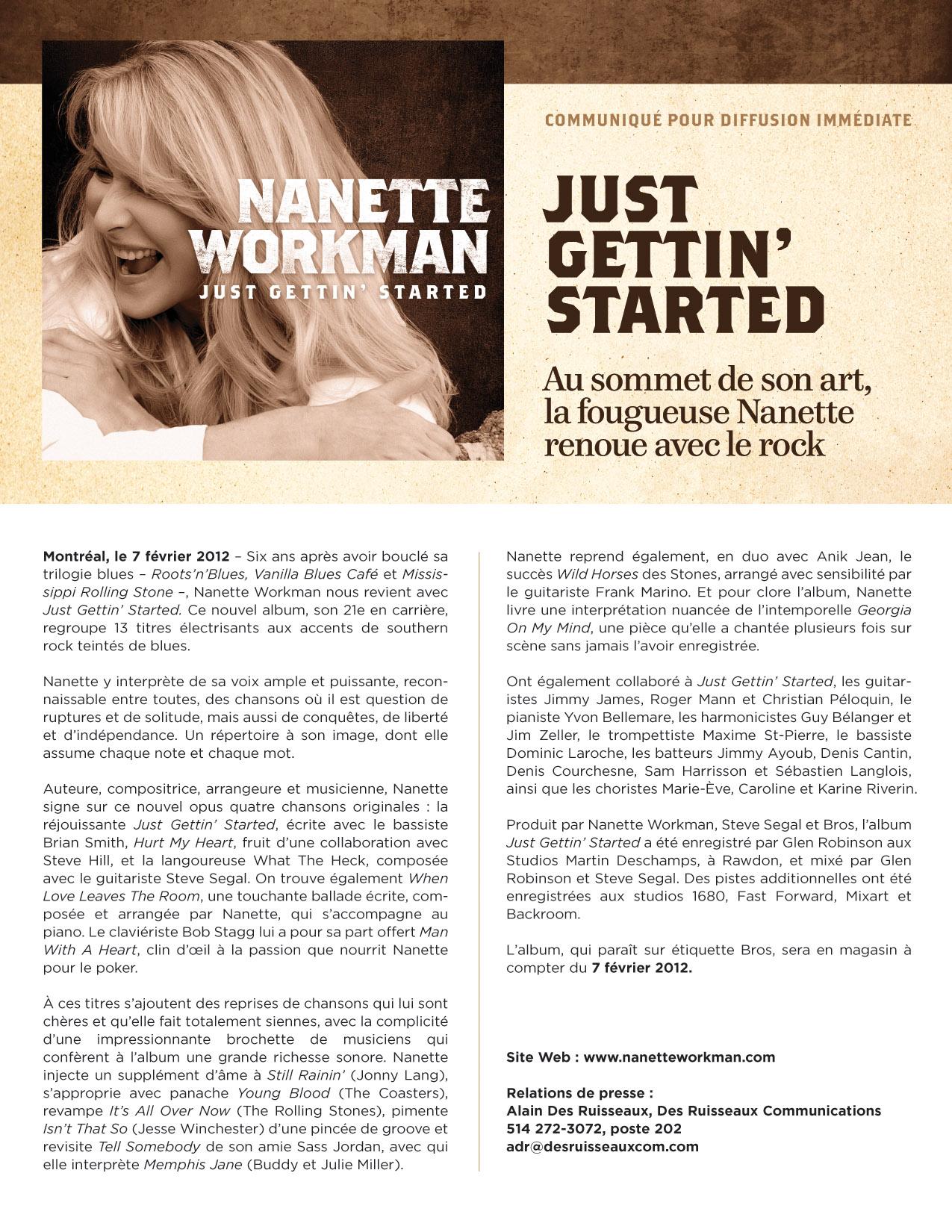 Nanette Workman   Just Gettin' Started en magasin dès aujourd'hui!