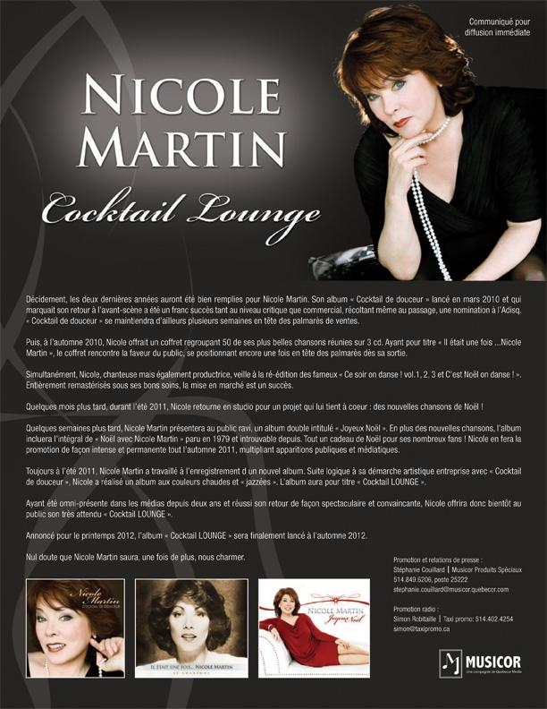 "NICOLE MARTIN : L'album ""Cocktail Lounge"" sortira à l'automne 2012 !!"