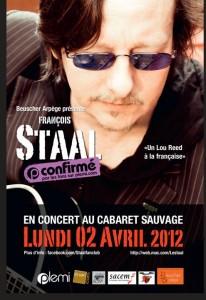 François Staal  En concert le lundi 02 avril au Cabaret Sauvage