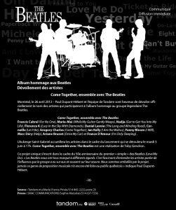 Dévoilement des artistes - Come Together, ensemble avec The Beatles