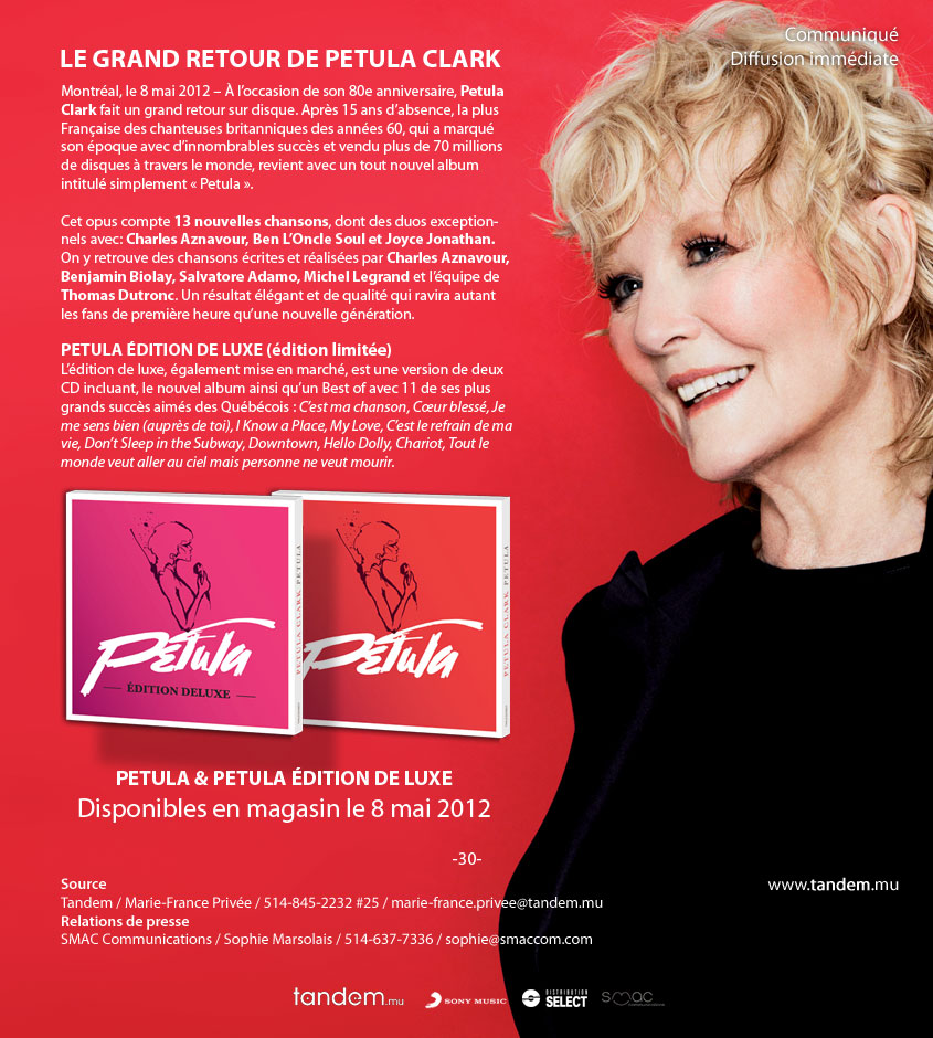 Nouvel album de Petula Clark