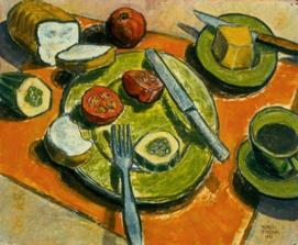 Marcel Gingras. La nappe orange, 1957, huile sur panneau de bois, don de l'artiste,  collection Musée des beaux-arts de Sherbrooke