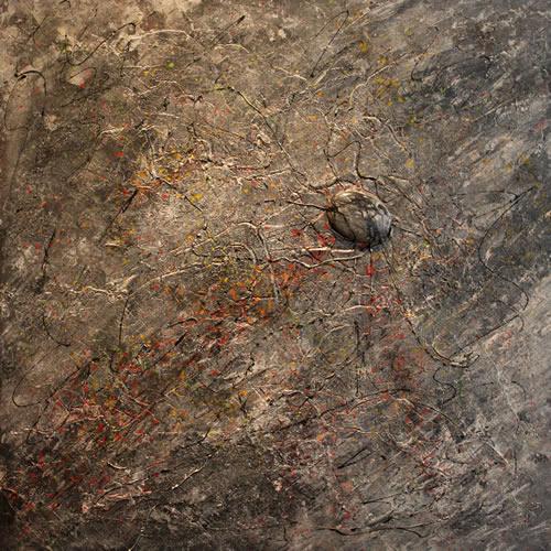 Peinture avec une pierre semi précieuse incrustée
