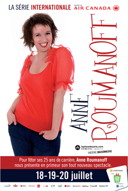 ANNE ROUMANOFF  LE 18 JUILLET - 20H  Théâtre Maisonneuve - Place des Arts