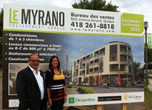 Pierre Blouin, promoteur et constructeur du projet Myrano et Christine Brousseau, courtier ventes et développements du projet Myrano.