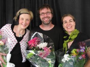 Les 3 lauréats; Mélanie Denis (joaillière), Stéphane Dumont - Arbol (ébéniste), Marjolaine Turcotte - Une marjolaine (designer).
