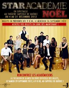 Prévente billets - Star Académie Noël - Théâtre Capitole de Québec tout le mois de décembre !