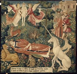 Tenture de la Légende de saint Etienne. Le corps du martyr exposé auxbêtes