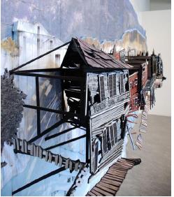 Marie-Ève Martel, L'effet Gold Rush, 2009-2010, détail de l'installation, 237 x 427 x 53 cm
