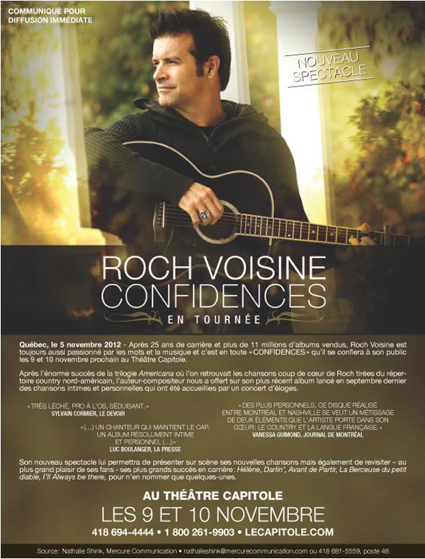"""Roch Voisine présentera ses """"Confidences"""" au Capitole les 9 et 10 novembre!"""