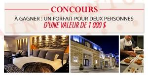 Gagnez un forfait d'une valeur de 1000$ à l'Auberge Saint-Antoine!