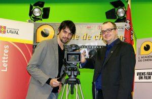 Max Boudreault, Directeur général de l'Académie du cinéma et le Doyen de la Faculté des lettres de l'Université Laval, Michel De Waele.
