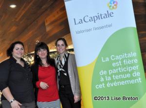 Valérie et Laurence de Groupe Financier La Capitale partenaire présentateur de l'évènement en compagnie de Dominique Violette directrice générale du CIT