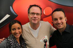 François Pérusse en compagnie des co-animateurs de l'émission Le monde de Dany à NRJ : Marie-Christine Champagne et Dany Gagnon