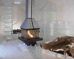 Le foyer de Hôtel de glace © photo: courtoisie