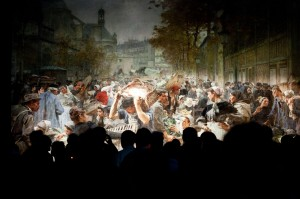 La gigantesque toile Les Halles est l'un des 250 objets présentés dans l'exposition Paris en scène. 1889-1914 q
