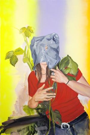 Isabelle Guimont, Mascarade, 2013, huile et aérosol sur toile, 121,9 x 182,9 cm. Avec l'aimable autorisation de l'artiste.
