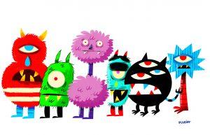 Les monstres, de l'illustrateur PisHier.