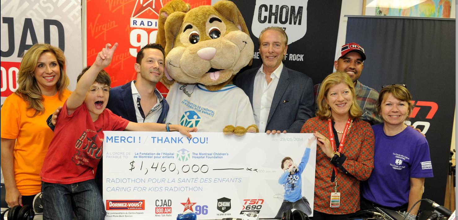 Le Radiothon Pour la santé des enfants, en partenariat avec CJAD, Virgin Radio, CHOM 97 7 et TSN: 1 460 000 $ pour les petits patients du Children
