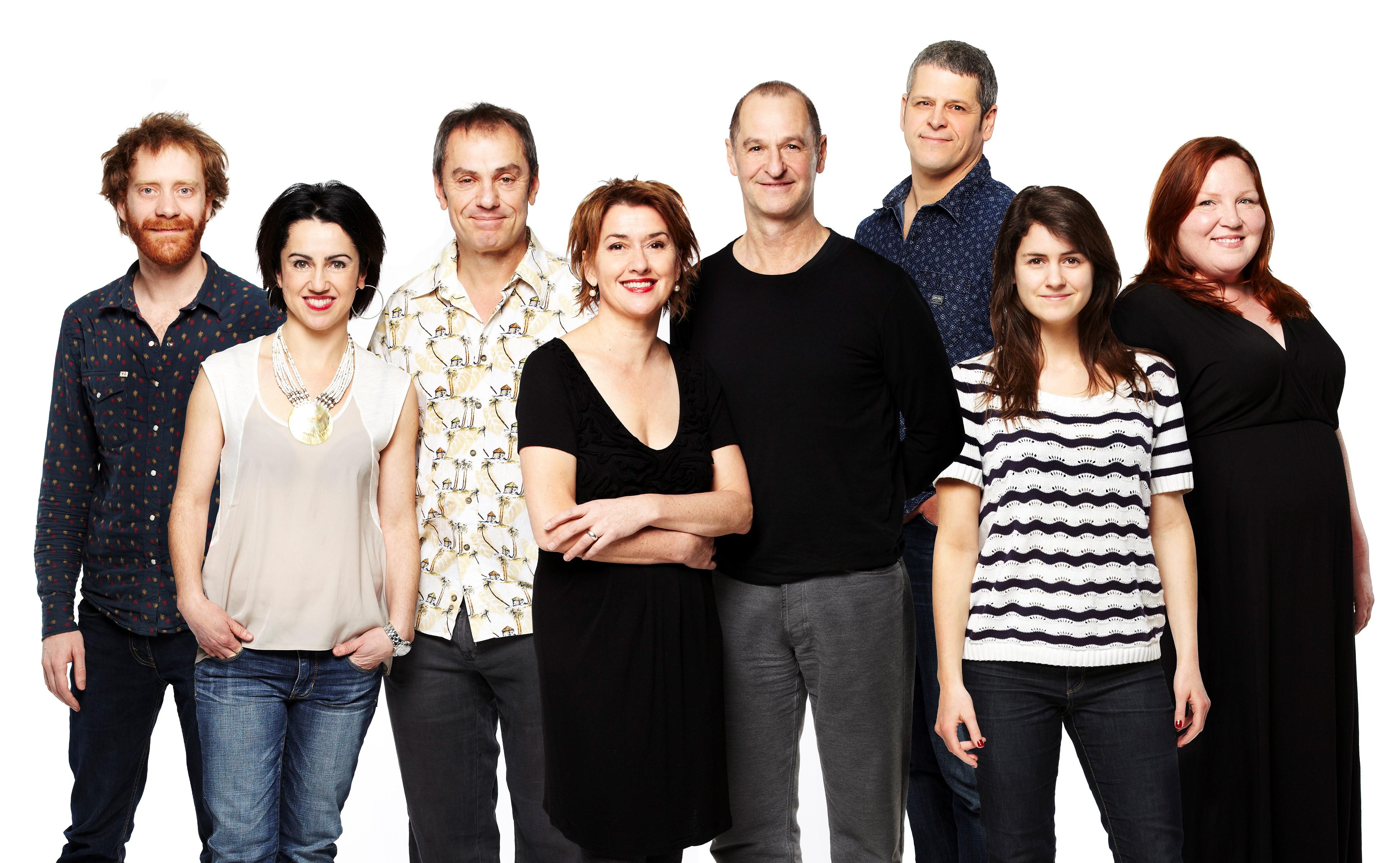 Simon Lacroix, Guillermina Kerwin, Henri Chassé, Isabelle Vincent,Roger La Rue, Claude Despins, Sarah Laurendeau et Kathleen Fortin