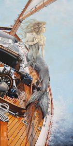 La Traversée, acrylique et huile sur toile, 36 x 18 pouces, de LO et Lyne Lafontaine
