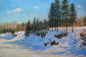 Stéphane Gagnon - Les remparts blancs de l'hiver, huile, 24 x 36 pouces