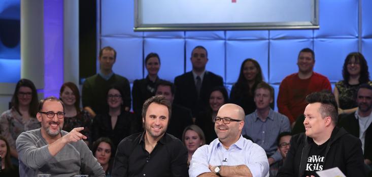 Tout le monde en parle - diffusion du 29 mars 2015- Martin Petit, Louis-José Houde, Laurent Paquin, Mike Ward  ©photo: Karine Dufour