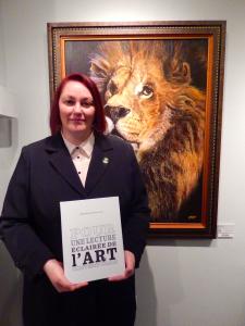 HeleneCarolineFournier présente son livre (Le lion est une oeuvre de BOLTINA