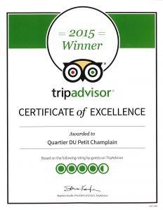 Un certificat d'excellence Trip Advisor pour le Quartier Petit Champlain