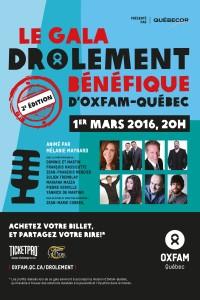 2e édition du Gala Drôlement Bénéfique d'Oxfam-Québec
