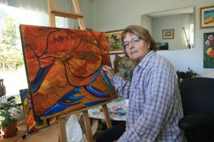 Hélène Boivin dans son atelier