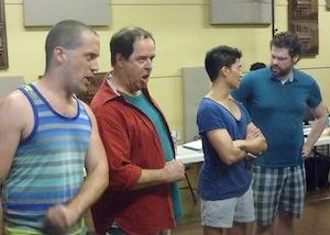Vance de Waele, Pierre Lenoir, Marc Ducusin et Marc-André Poulin dans «Blame Canada» pour le spectacle anniversaire