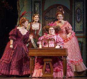 Sarah Primmer (belle-mère), Tatyana Lubov (Cinderella),  Joanna Johnson (Charlotte) et Mimi Robinson (Gabrielle)