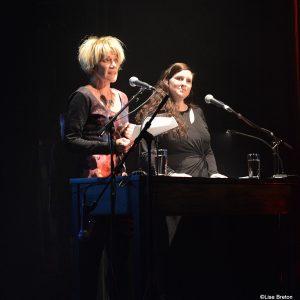 Diane Blanchet, directrice générale de diffusion culturelle de Lévis pour l'Anglicane et la Galerie Louise Carrier et Mireille Pouliot, la coordonnatrice aux arts de la scène pour la diffusion culturelle de Lévis.