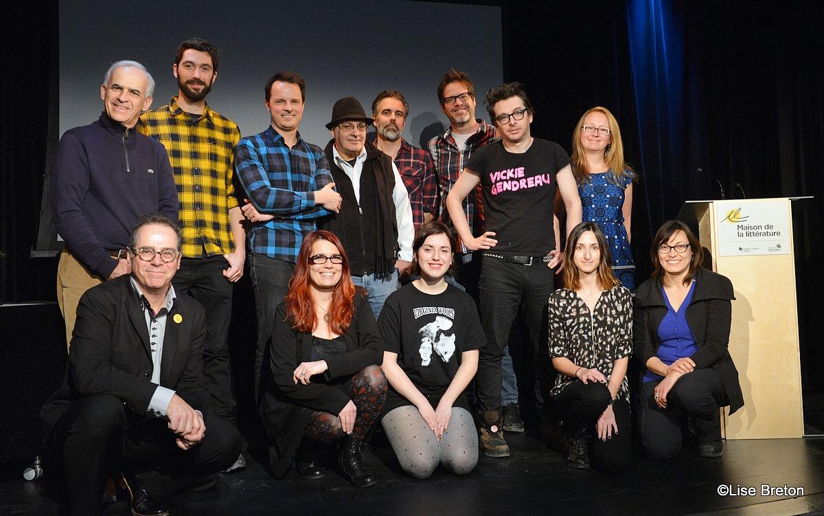 Les artistes et responsables  présents à la conférence de presse de la Maison de la littérature