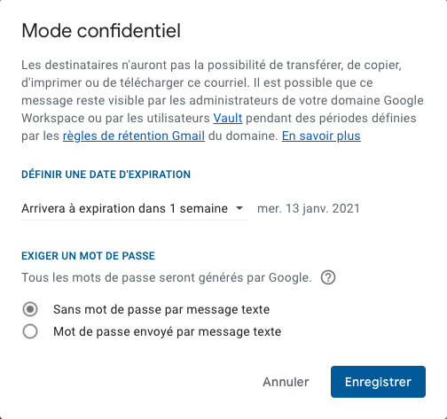 mode confidentiel gmail