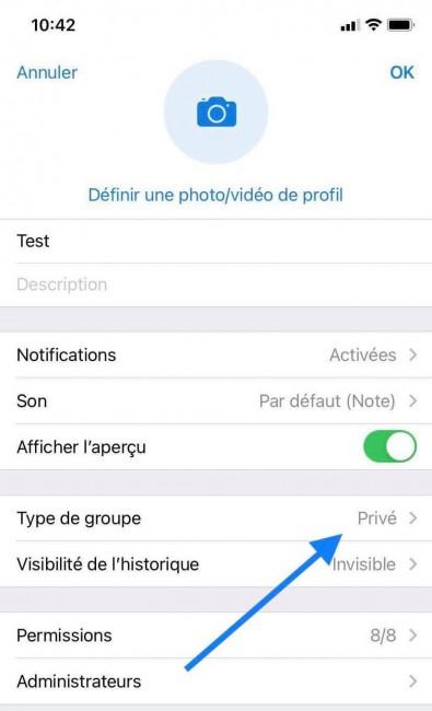 Mode public privé sur Telegram