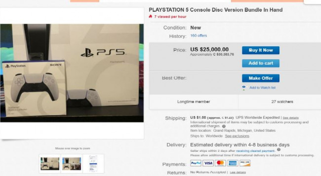 PS5 en vente sur Ebay
